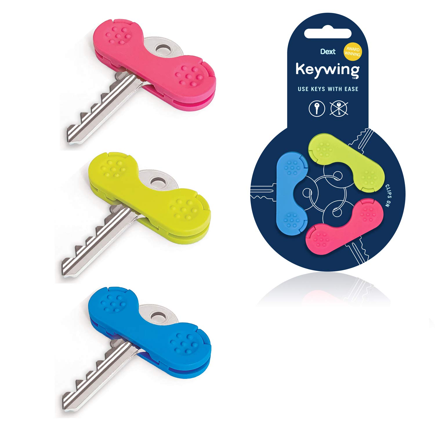 Keywing Key Turner Aid. Triple Pack. Award Winning. Makes Keys Easier to find, Grip and Turn. Perfect Thumb Turn for Arthritis, Elderly, MS, Parkinsons. Weak Grip & Hand aid to use Keys with Ease. by Dext