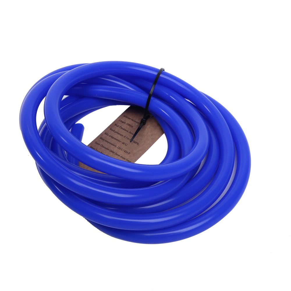 "Hiwowsport 10' Length High Temperature Silicone Vacuum Tubing Hose Blue Color (3MM(1/8""))"