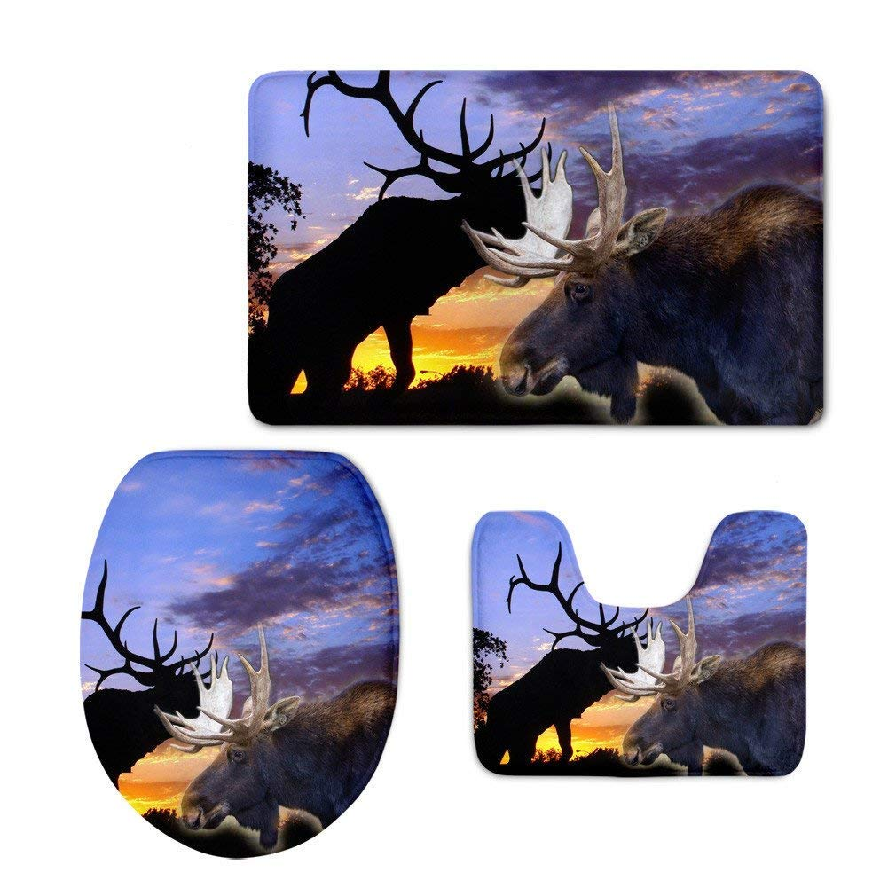HeCheng Fashion Elk Printing Soft Washable Bath Rug Set Bathroom Mat Contour Rug Toilet Lid Cover (3 Piece) Door Mat