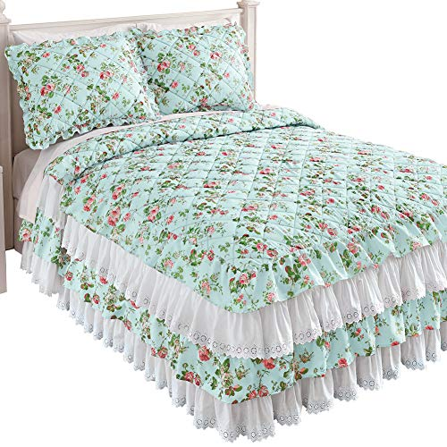 (Collections Etc Floral Eyelet Lace Ruffled Bedspread with Four Tiers and Quilted Design - Seasonal Décor for Bedroom, Blue, Queen )