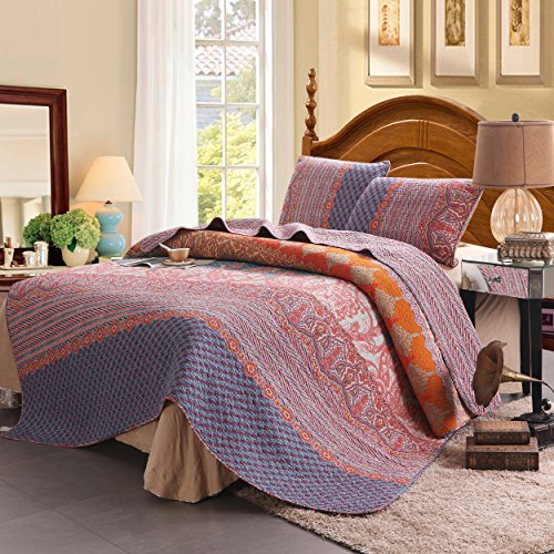 100% Cotton 3-Piece Chic Boho Quilt Set, Reversible& Decorative – Full/Queen Size by Exclusivo Mezcla
