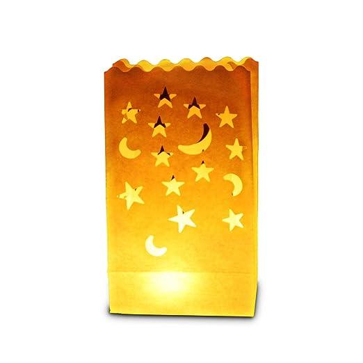 Paquete de 30 bolsas de papel para poner velas en su interior, diseño de lunas y estrellas