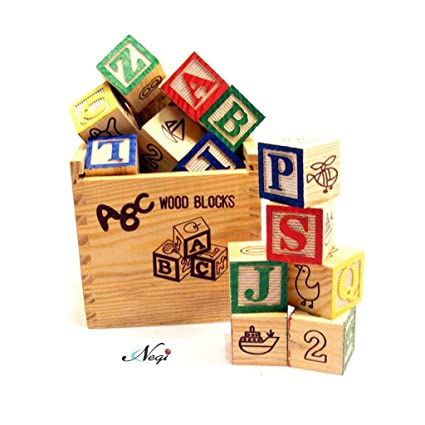 Negi ABC 123 Wooden Blocks Letters Numbers with Box Storage Case (27 Pieces)