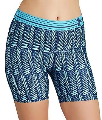 Under Armour HeatGear Alpha Printed Mid Compression Shorts, XL, Carribean Blue