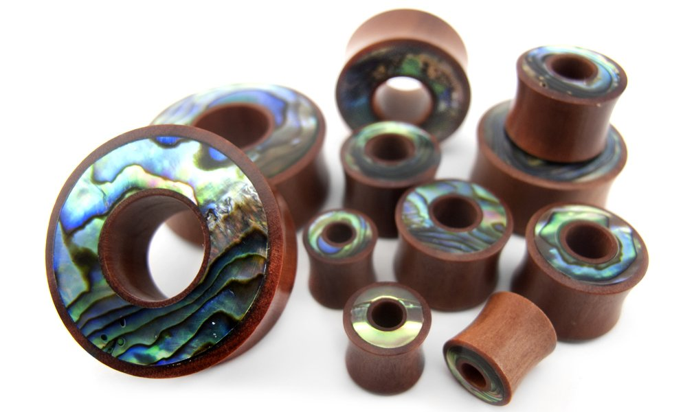 Pair of 1 & 1/4'' Inch (32mm) Saba Wood Tunnel Plugs With Abalone Shell Inlay by Urban Body Jewelry