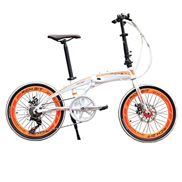 richbit rt-020 aluminio marco blanco naranja Mini bicicleta plegable bicicleta plegable 20 ""