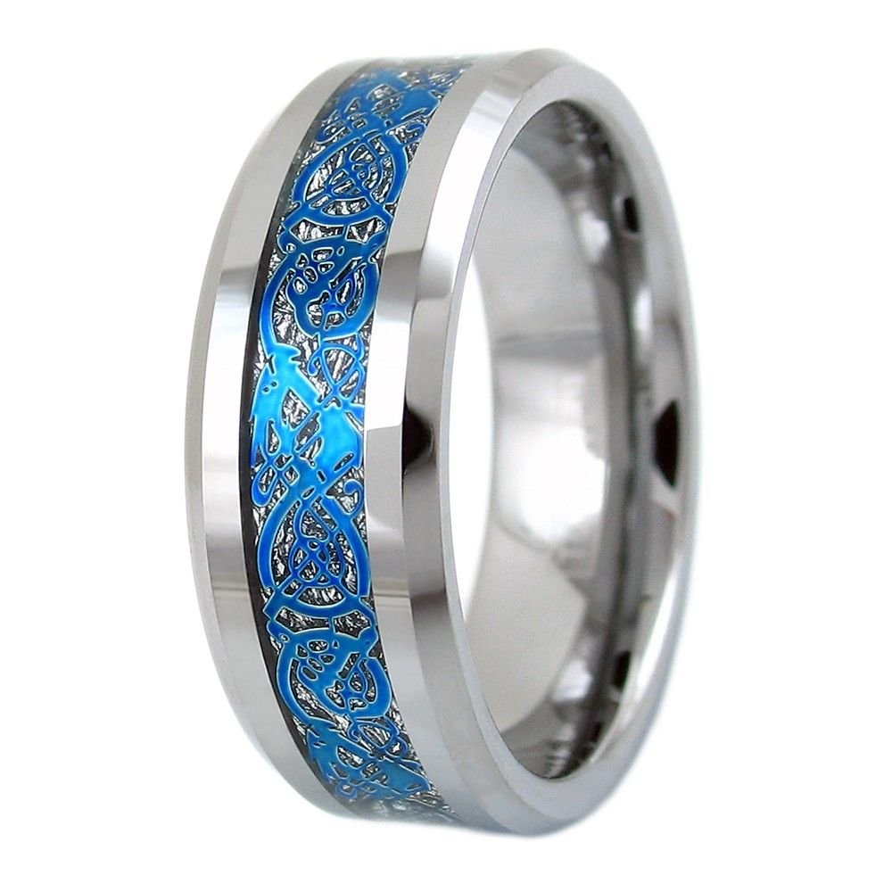 Beautiful 8mm Natural Silver Tungsten Wedding Band W Royal Blue Celtic Dragon Inlay Amazon: Cross Backround Wedding Bands At Websimilar.org