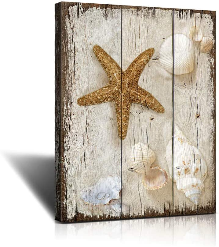 bathroom decor sea shells Vintage Beach Scene with Sea Life on The Sand Canvas Art Wall Decor to Hang for Home Bathroom Kitchen Office Decoration 12x16inchx1The bedroom wall art Marine themefor Bedroo