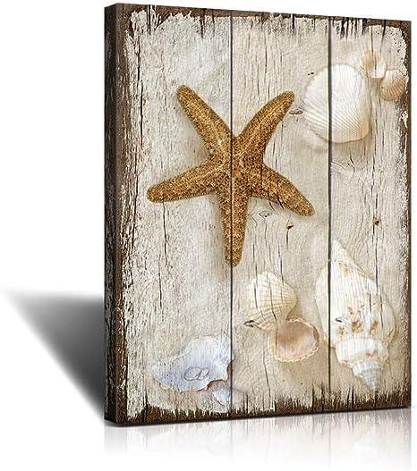 Amazon Com Bathroom Decor Sea Shells Vintage Beach Scene With Sea Life On The Sand Canvas Art Wall Decor To Hang For Home Bathroom Kitchen Office Decoration 12x16inchx1the Bedroom Wall Art Marine Themefor