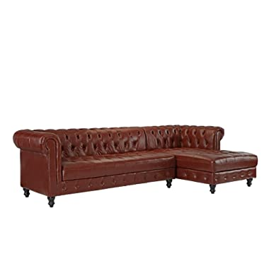 Divano Roma Furniture Classic Real Tufted Leather Match Chesterfield L Shape Sectional Sofa with Wide Chaise (Light Brown)