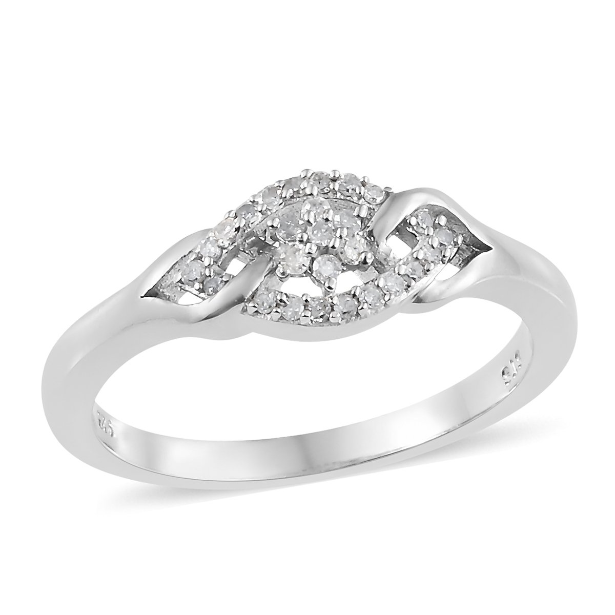925 Sterling Silver Platinum Plated 0.15 cttw Round Diamond Engagement Ring for Women Size 6