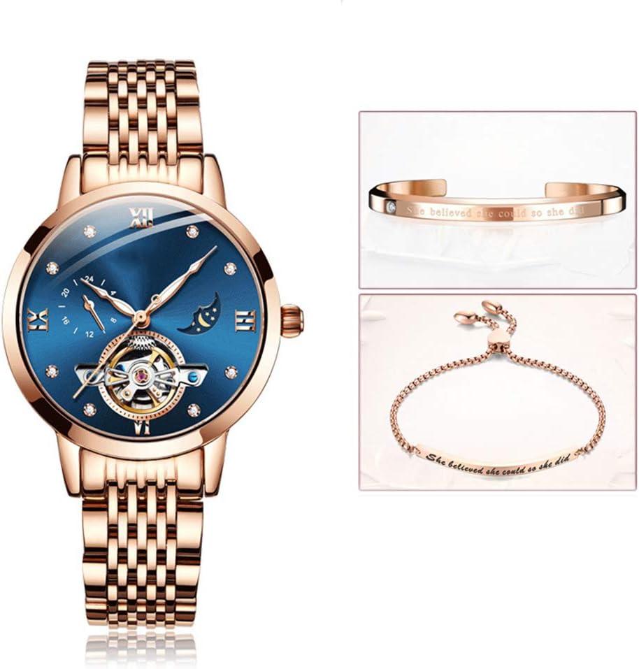 Relojes mecánicos para mujer, relojes a prueba de agua huecos a la moda Con pantalla luminosa de fase lunar tourbillon ect funciones relojes mecánicos totalmente automáticos (pulsera de envío).,B