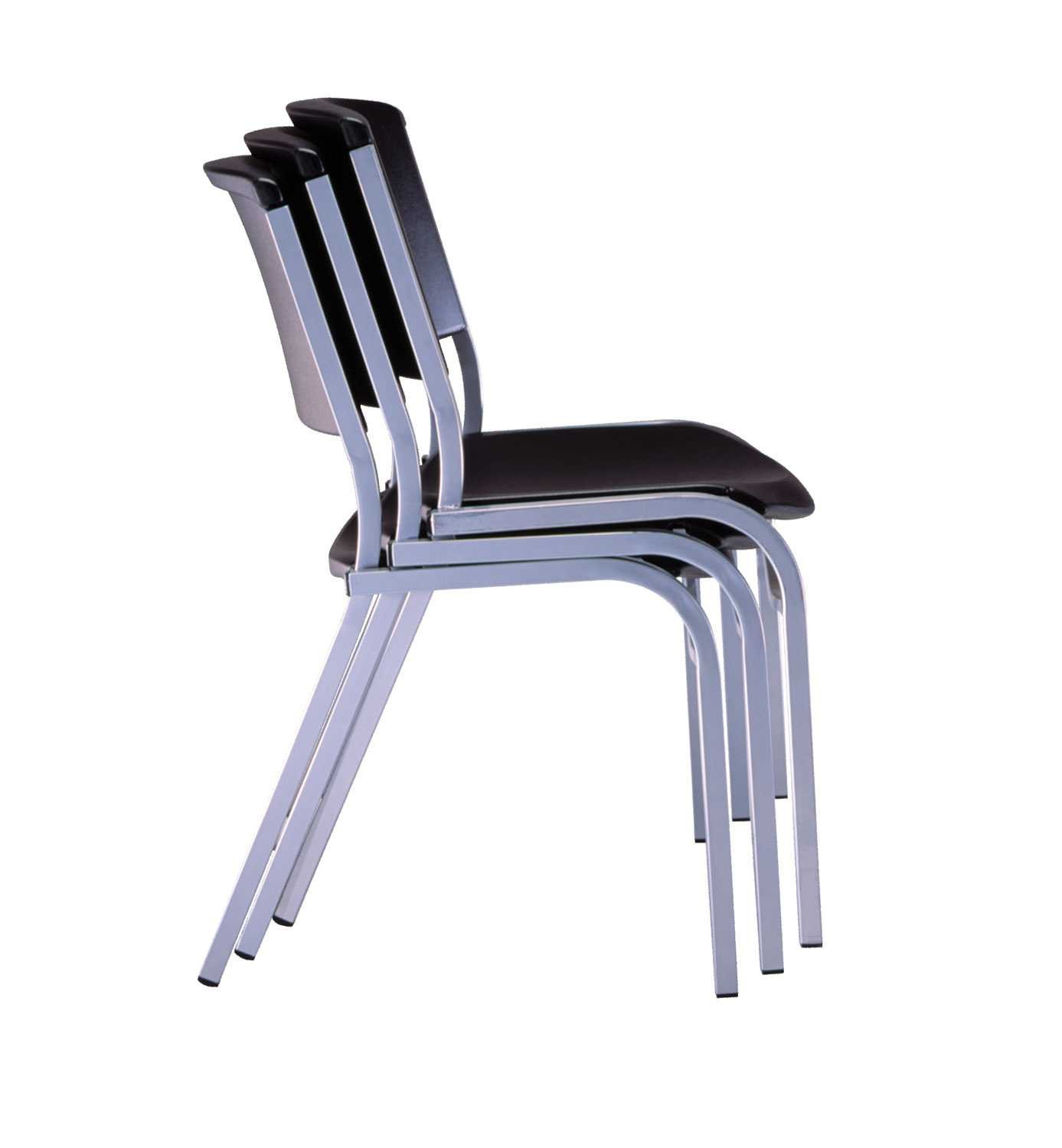 Amazon Lifetime Stacking Chair Black with Silver Steel