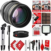 Opteka 85mm f/1.8 Manual Focus Aspherical Medium Telephoto Portrait Lens for Canon EOS 80D, 77D, 70D, 60D, 7D, 6D, 5D, 7D Mark II, T7i, T6s, T6i, T6, T5i, T5, SL1 & SL2 Digital SLR Cameras