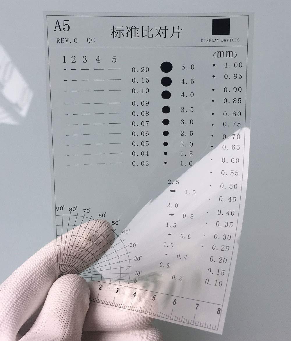 Transparency Transparent, 7 Flaw Detection Gauge Film Ruler SEC Size Estimation Chart for Defects and Measuring