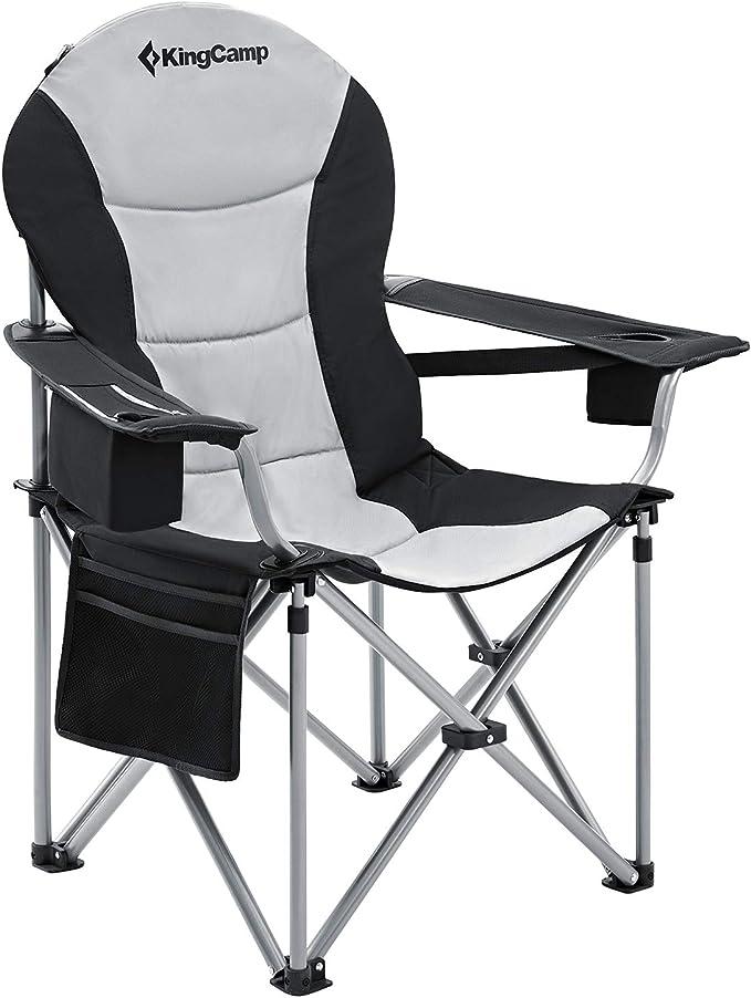 KingCamp Support de Chaise de Camping Robuste Lombaire pour Le Dos Siège Pliant de avec Sac Isotherme et Porte gobelet d'accoudoir