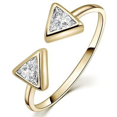 Yan & Lei Sterling Silver Dazzling Geometric Triangle Cubic Zirconia CZ Adjustable Rings for Women Color Golden QQu6lKbLoU