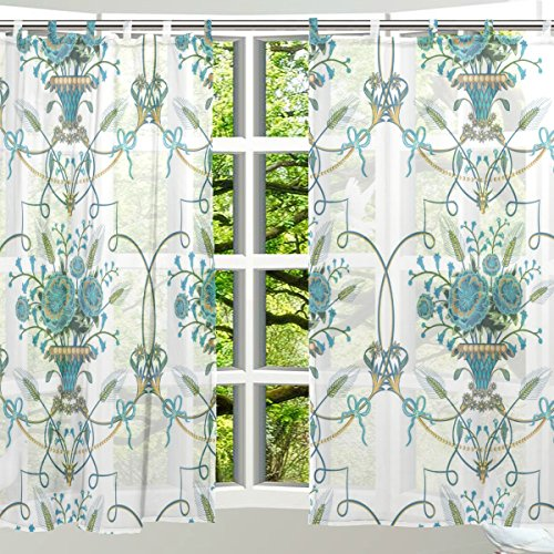 ALAZA Window Decoration Sheer Curtain Panels,Shabby Chic Art
