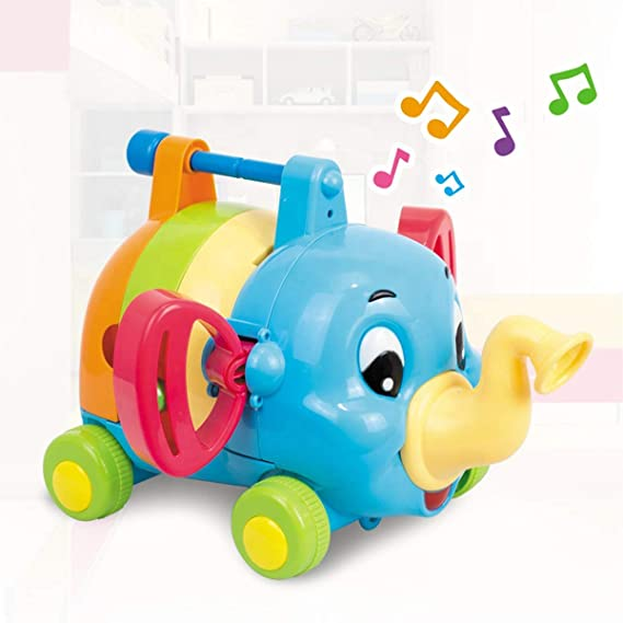 Kiddale 5 in 1 Baby and Toddler -Musical Instrument Blocks Elephant Toy : Whistle, Rattles,Knock Piano, Harmonica and Drums, Colorful Infant Toy-Multicolor