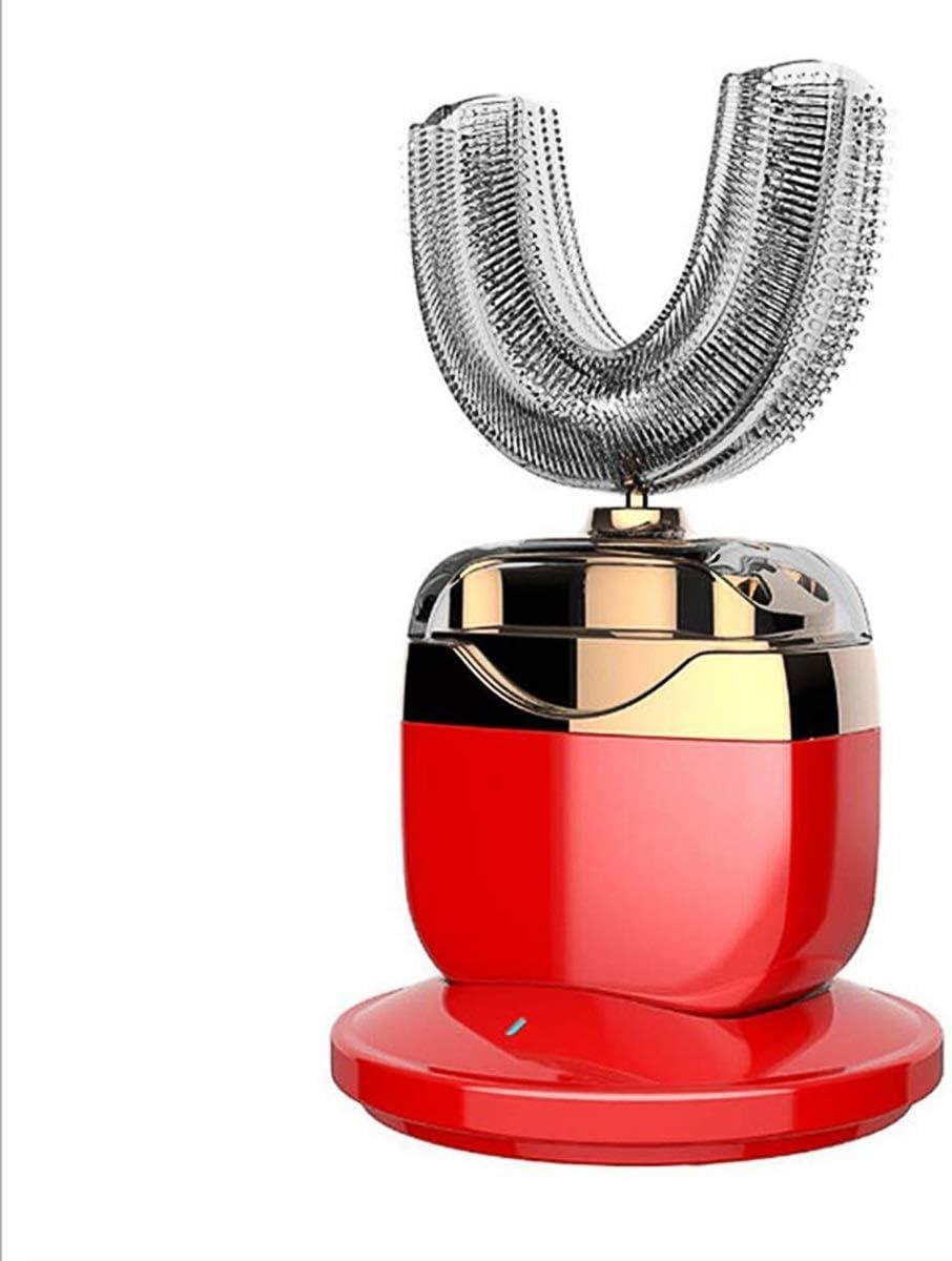 KEHUITONG 怠惰な歯磨剤を充電するU字型の電動歯ブラシの大人の歯ブラシ自動超音波洗浄 電動歯ブラシ (Color : Red)