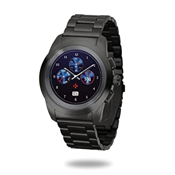 MyKronoz ZeTime Elite Reloj Inteligente híbrido 39mm con Agujas mecánicas sobre una Pantalla a Color táctil – Petite Cepillado Negro/Metal Link