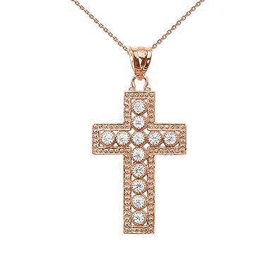 Amazon 14k dazzling rose gold diamond cross pendant necklace 14k dazzling rose gold diamond cross pendant necklace 16quot aloadofball Images