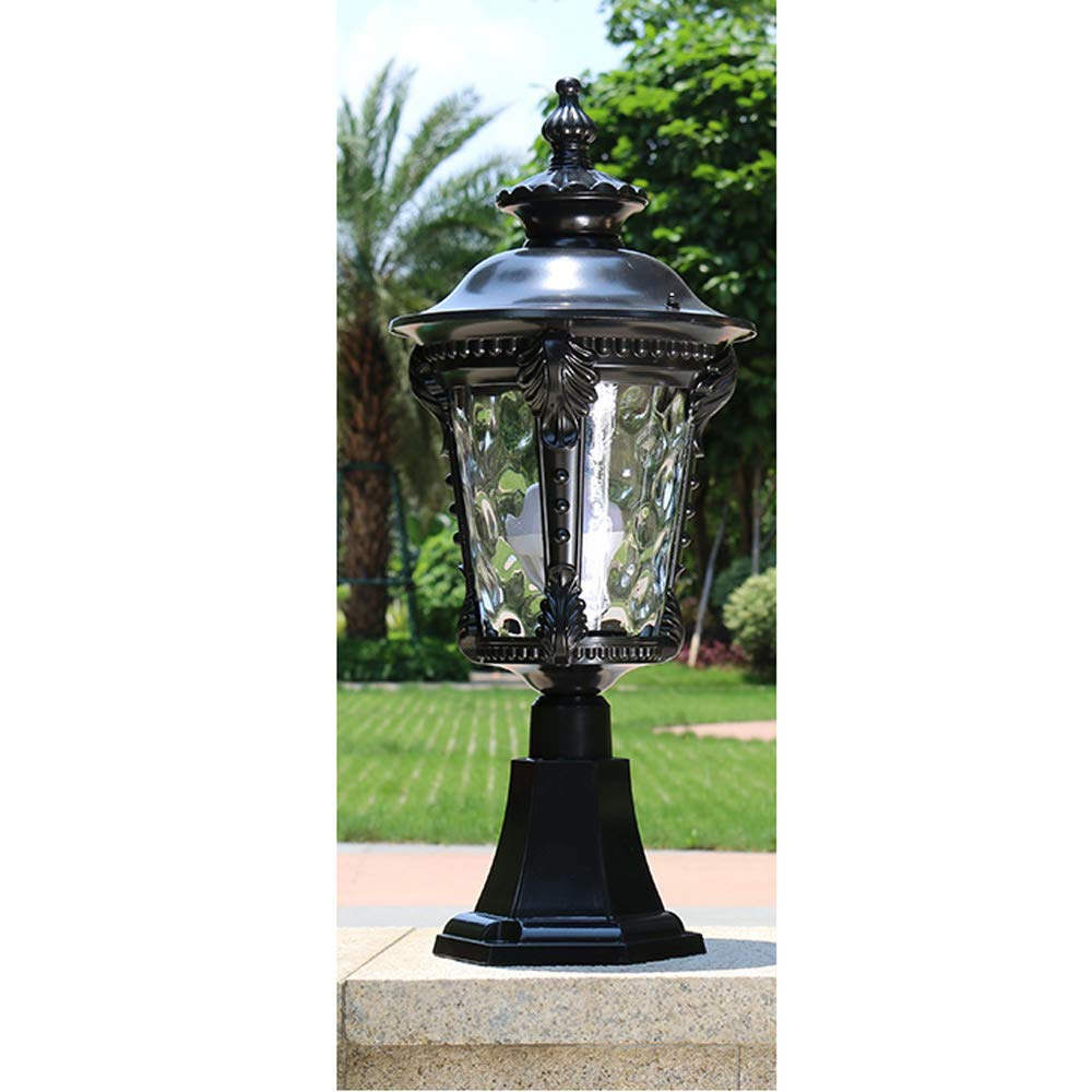 HDMY Outdoor Pillar Lamp Aluminum Globe Landscape Lighting Fixture Luxury European Vintage Rustic Country External Rainproof Post Light Rust Prevention Waterproof E27 Lawn Garden Light