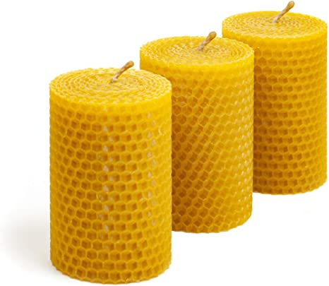 16 PCS 100/% BEESWAX  HAND ROLLED CANDLES cotton wicks