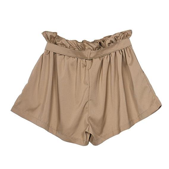 e28110b614c3 TWIFER Damen Elegent hohe Taille Shorts Shorts weiß mit Gürtel Kurze Hose   Amazon.de  Bekleidung