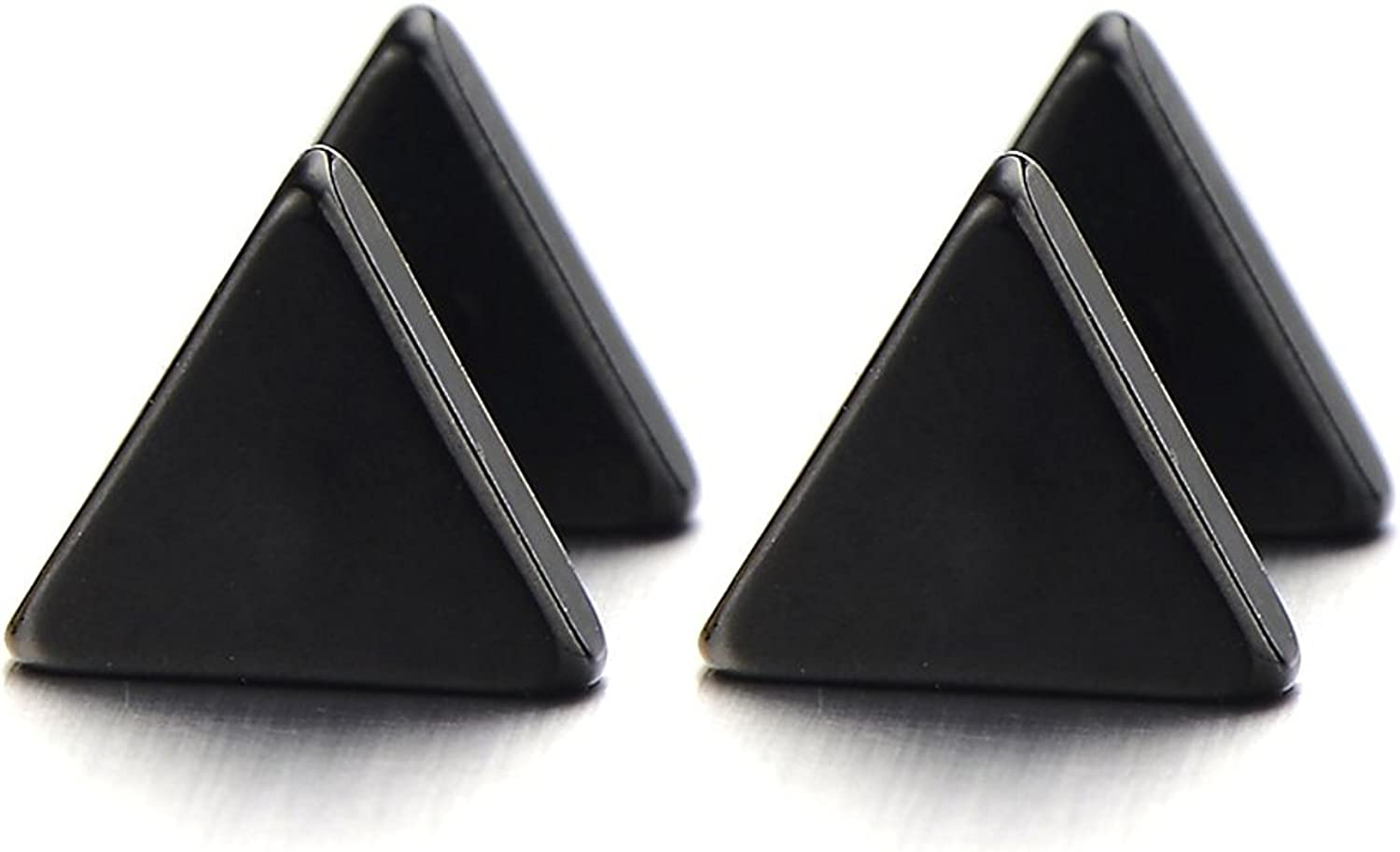 2pcs 5-10MM Unisex Stainless Steel Black Triangle Screw Stud Earrings for Man and Women CA