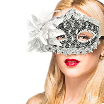 White lace Masquerade ball mask Pair Bridal Feather Wedding Dress Birthday Party
