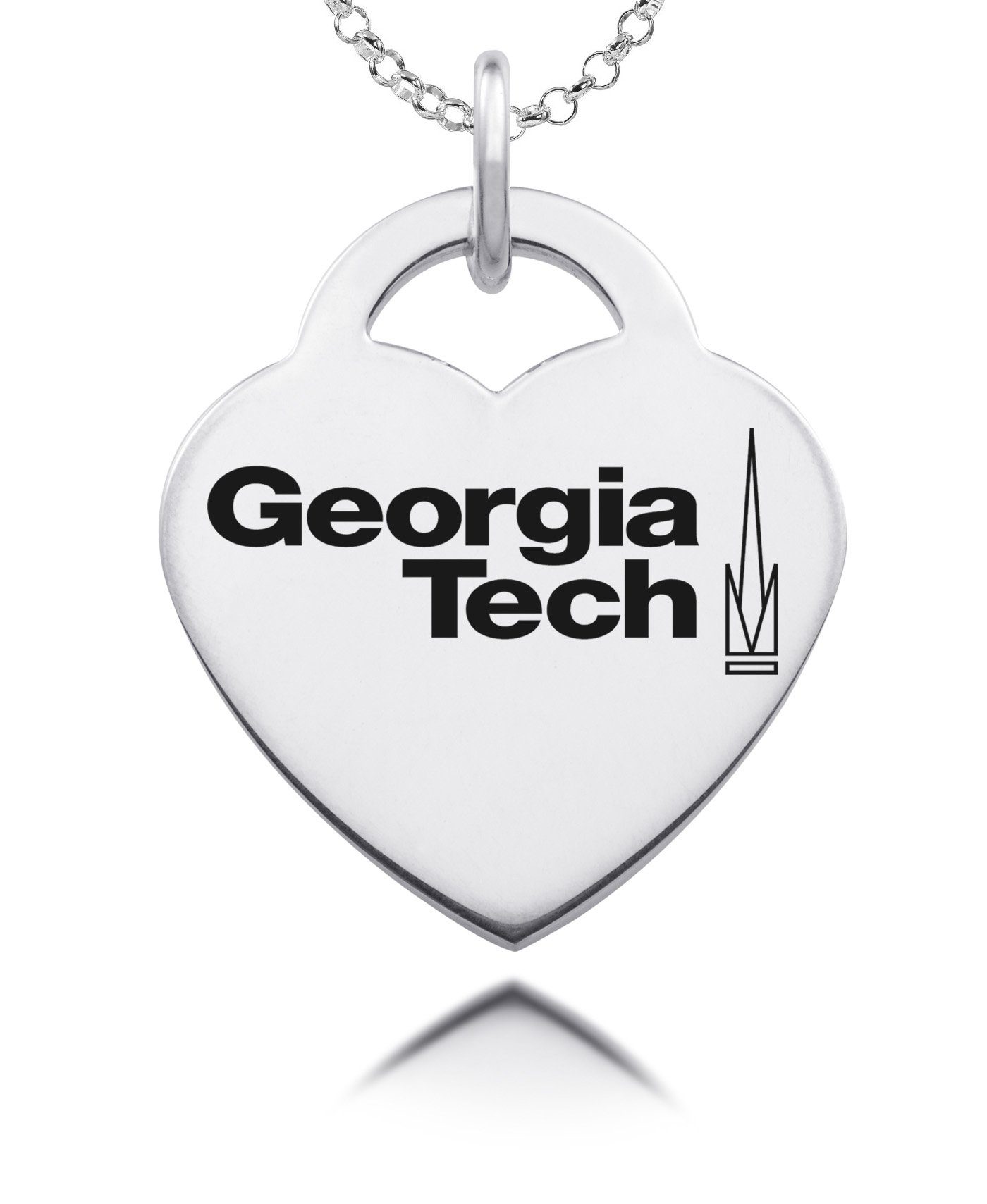 Georgia Tech Yellow Jackets Hoyas Laser Engraved Heart