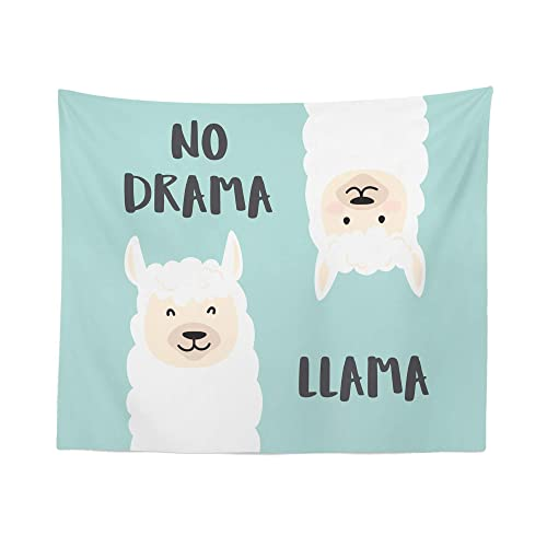 Llama Quote Tapestry Wall Hanging No Drama Funny Llamas Sayings Tapestries Dorm Room Bedroom Decor Art – Printed in the USA – Small to Giant Sizes