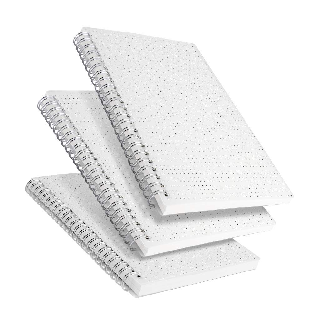 RETTACY Dot Grid Notebook Spiral - A5 Spiral Bound Dot Grid Notebook,100gsm Thick Dotted Paper 80 Sheets Per Book 8.26 x 6.1 Inches 3-Pack (A5-Dotted) by RETTACY