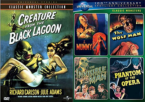 Universal Creatures Monsters Series Wolf Man/Mummy/Phantom Opera/Invisible Man + The Creature of the Black Lagoon DVD 5 Movie Bundle (Monsters Coffin Universal)