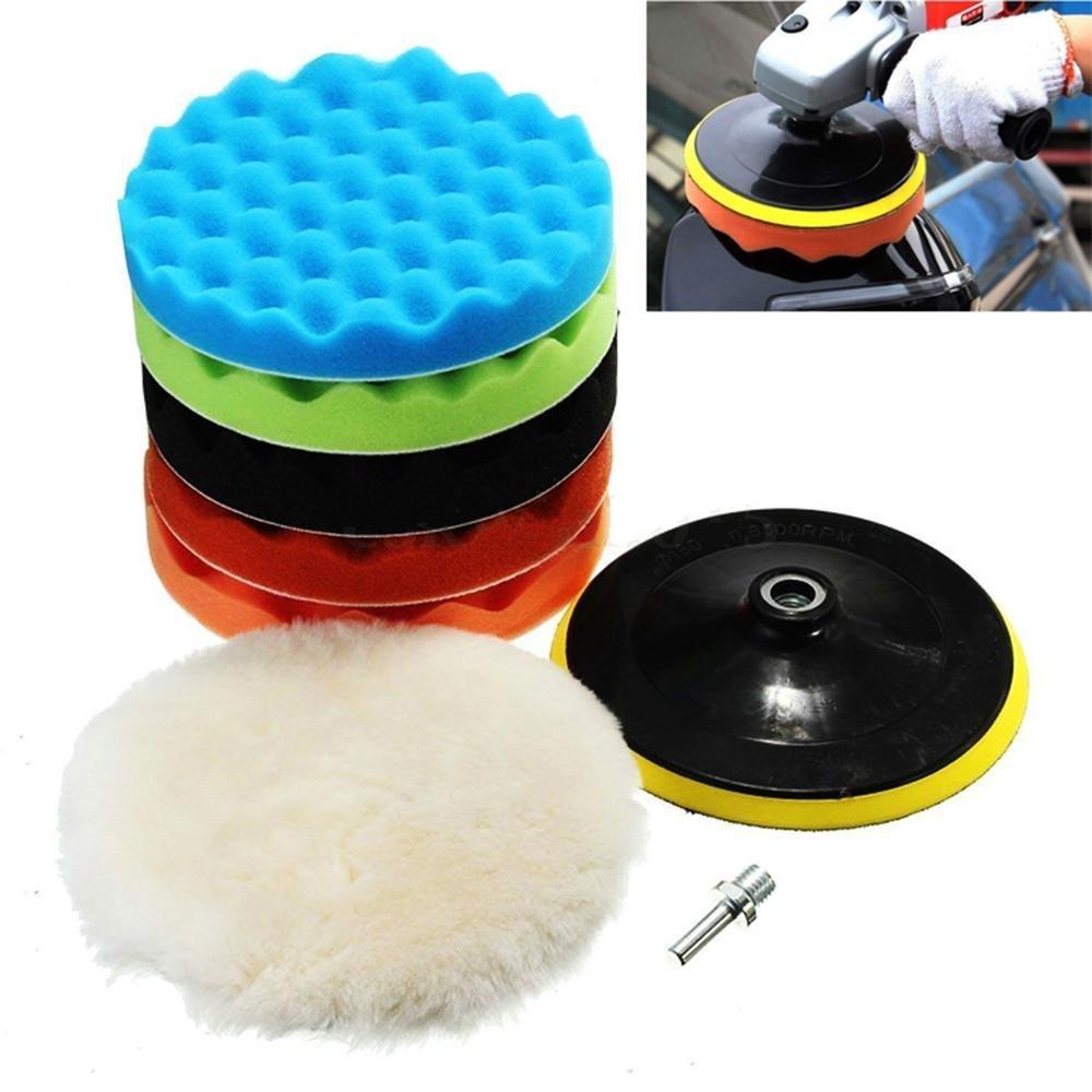 Wady –  Juego de 6 inch pulido cera almohadillas de pulido de lana de pulir esponja y kits con M14 para taladro elé ctrico