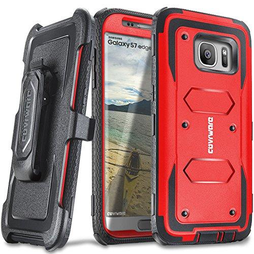 COVRWARE Galaxy S7 Edge - [Aegis Series] Heavy Duty Dual Layer Hybrid Full-Body Armor Holster Belt-Clip Case [Kickstand] for Samsung Galaxy S7 Edge - Red (CW-S7EG-AG03)