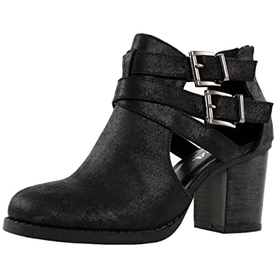 Amazon.com   Women\'s Ankle Bootie With Low Heel And Cut-Out Side ...