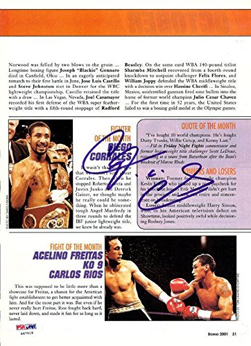 Diego Corrales Authentic Autographed Signed Magazine Page Photo S47519 PSA/DNA Certified Autographed Boxing Magazines
