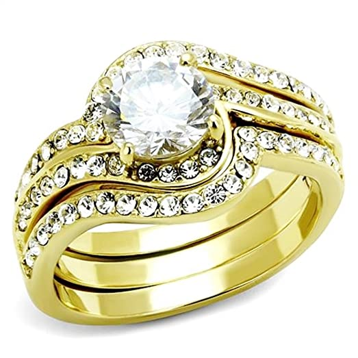 295 Ct Round Cut CZ 14k Gold Plated Stainless Steel Womens Wedding Ring Set Size 5