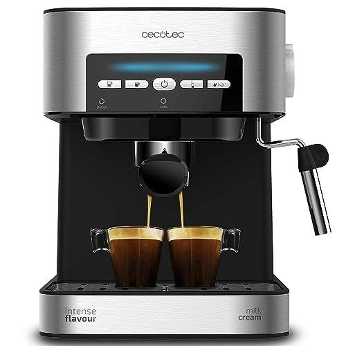 Cecotec Cafetera Espresso Power Espresso 20 Matic Presión 20 Bares Depósito de 1 5l Brazo Doble Salida Vaporizador Superficie Calientatazas Mandos Digitales Acabados en Acero Inoxidable 850W