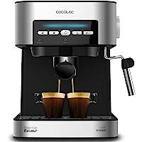 Cecotec Cafetera Espresso Power Espresso - 20 bares, Depósito 1,5 L, 850 W, Brazo Doble Salida, Vaporizador, Superficie Calientatazas y acabados en Acero Inoxidable