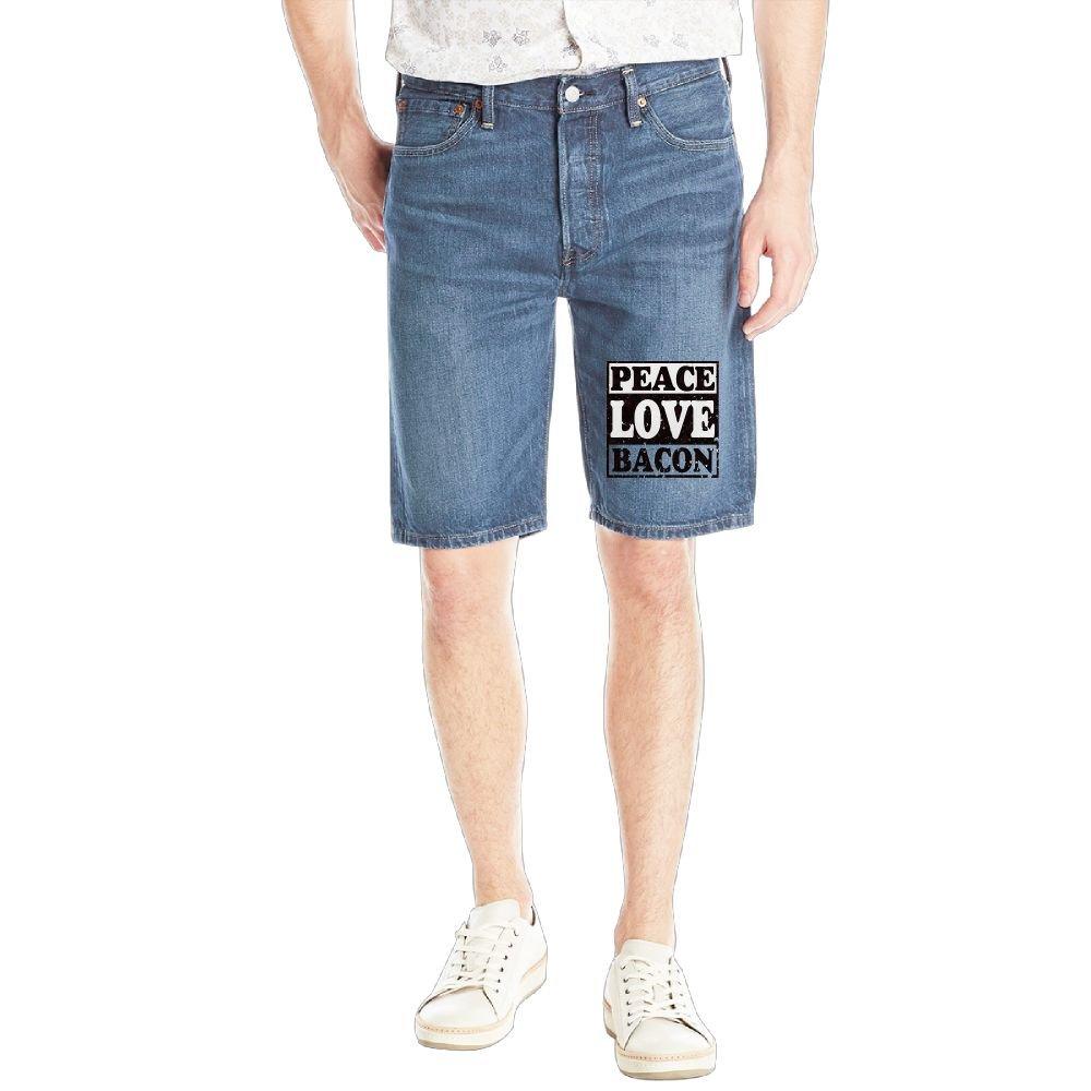 Peace Love Bacon. Mens Casual Short Denim Jean Pants Cool Casual Jeans Trousers RoyalBlue