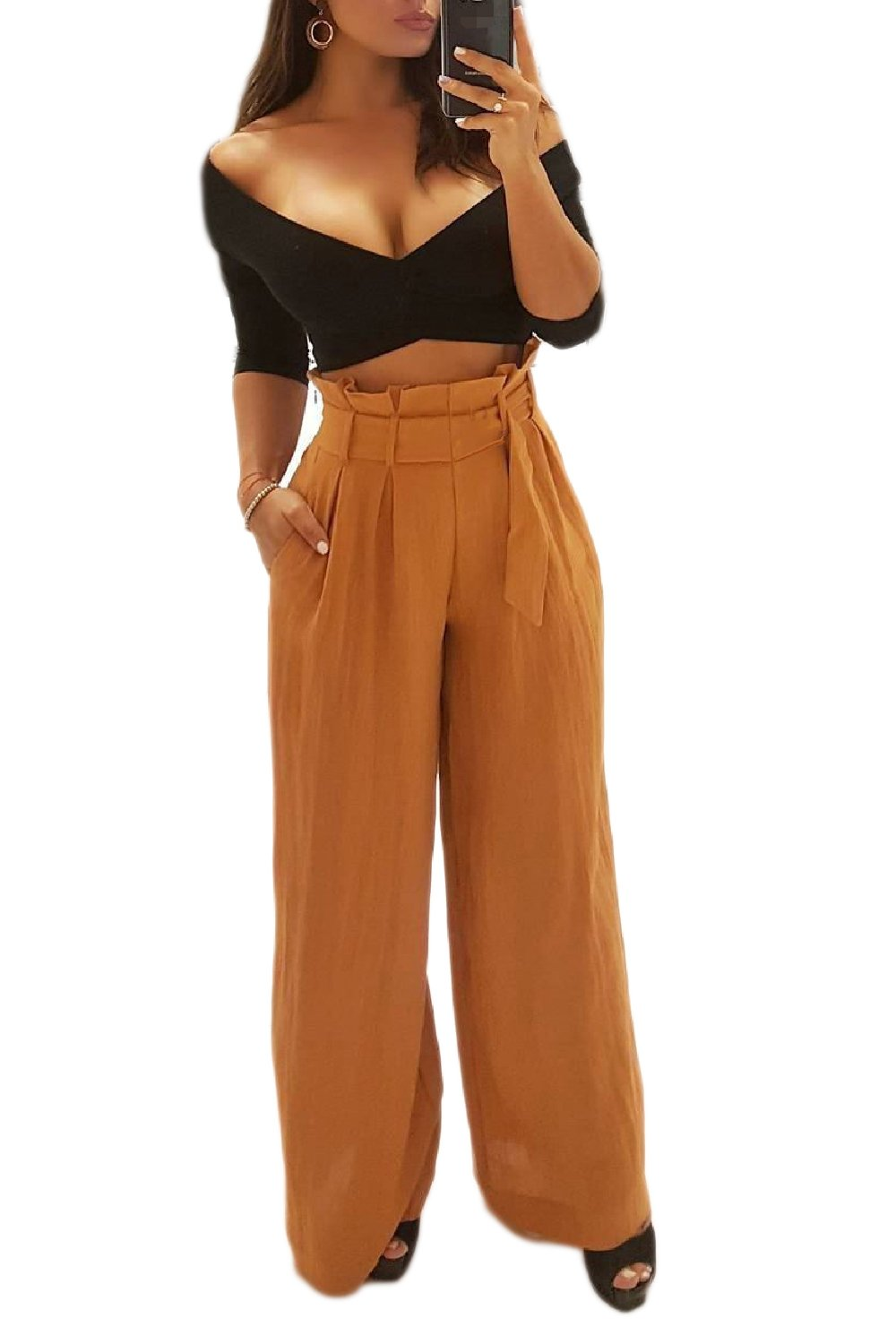Vemubapis Women Retro Style High Wiast Paper Bags Wide Pants with Belt Yellow S