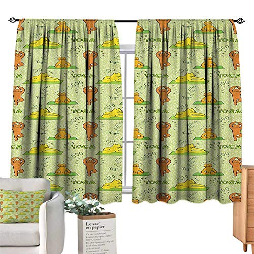 (CatSolid Rod Pocket short Blackout DrapesCute Cartoon Cats Practicing Yoga on Green Backdrop Meditation Healthy LivingThermal Insulated Grommet Blackout Curtains for Bedroom Green Orange Yellow.)