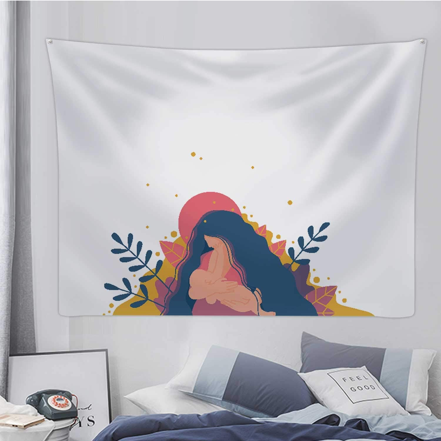 Mother Breastfeeding Her Newborn Baby.Flat Design of Concept,Tapestry Wall Hanging Wall Art for Living Room Dorm Decor 90.5X59.1in