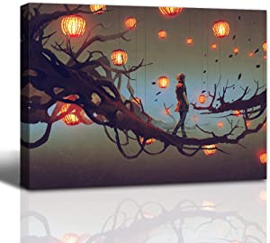 Gardenia Art man walking on a tree branch with red lanterns anime painting bathroom accessories wall art home decor for bedroom living room framed 12x16 in 1 PCS