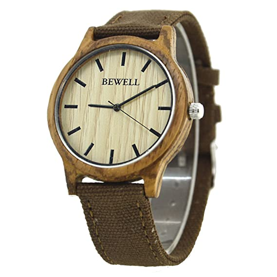 Bewell Men Bamboo Wood Watch with Canvas Band Lightweight Quartz Simple Casual Wristwatch