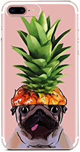 iPhone 6 Case,iPhone 6s Case,French Bulldog Girls Funny Pineapple Hat Dog Hawaii Tropical Summer Hipster Fruits Clear Rubber Case for Girl Compatible for iPhone 6/6S