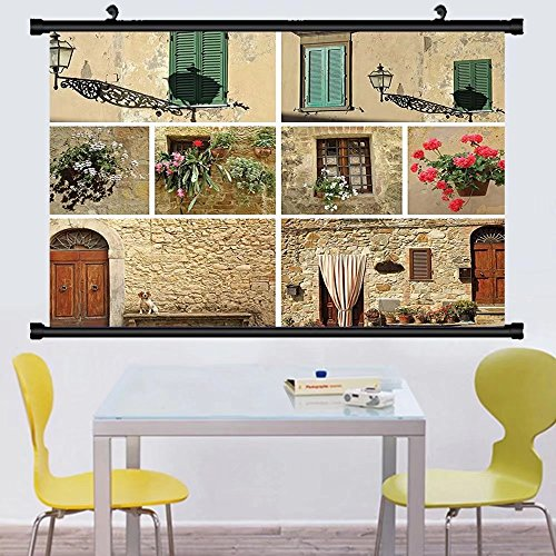 Gzhihine Wall Scroll Tuscan Decor Wall Hanging Various Pictures of talian Lifestyle with Old Classic Shutter Window and Stone Houses Print Decor Multi (Tuscan Window Mural)